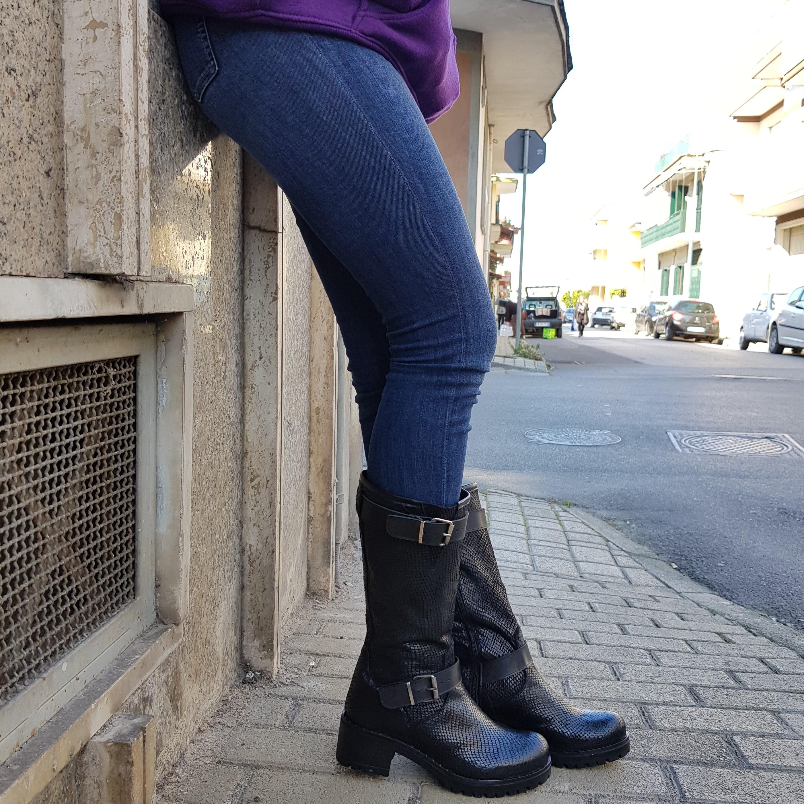 STIVALI PELLE NERO RISVOLTO ANNACHIARA 3 – LiaDiva