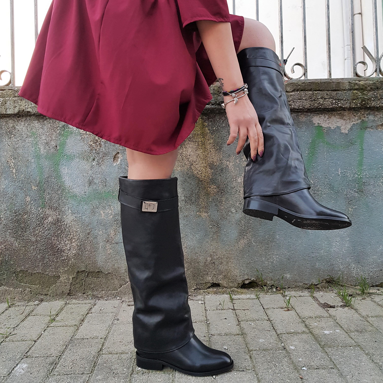 stivale donna pelle nero rialzo fashion zeppa zip