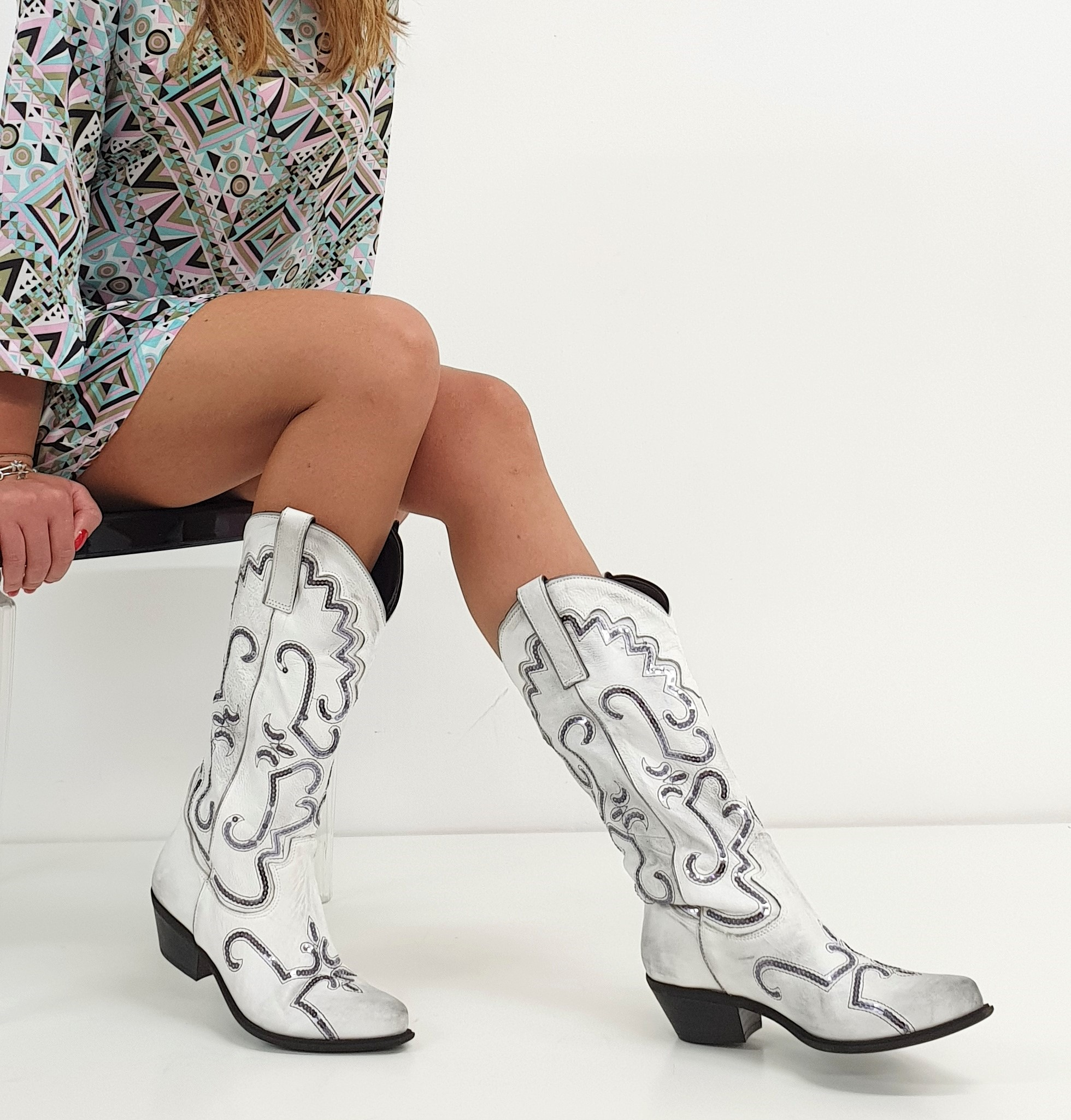 Stivali Oldwest 30 pelle bianco e nero – LiaDiva
